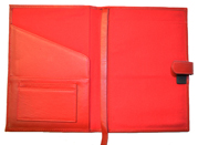 Inside of Red Premium Leather Journal Cover